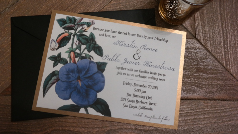 Floral, blue, gold, wedding, invitation, rustic