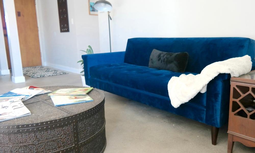 Mid-century, velvet sofa, blue,