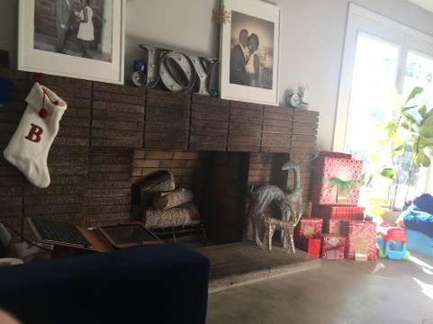 Brick Fireplace, mid-century, presents, holiday