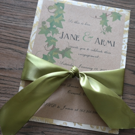 Ivy and Gold Engagement Party Invitation